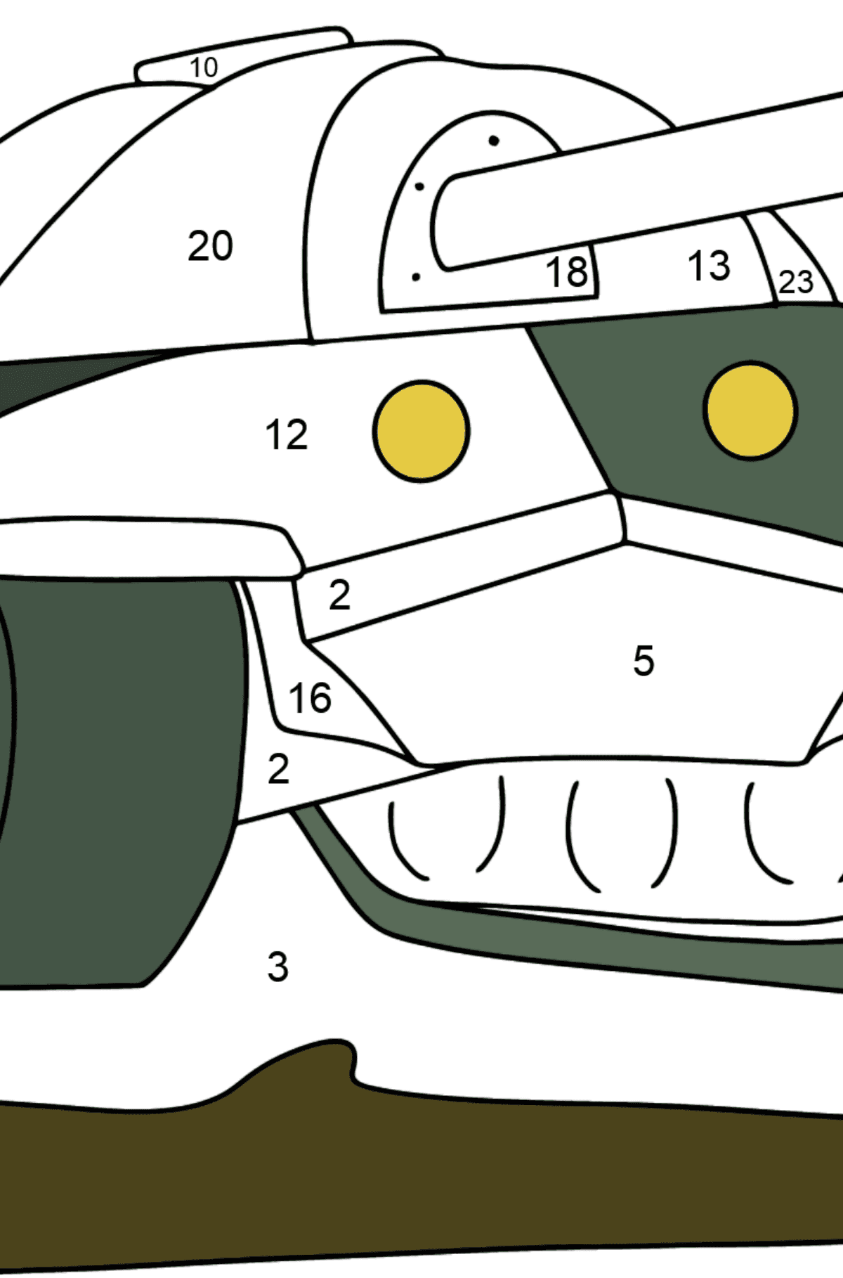 Tank IS 7 coloring page - Coloring by Numbers for Kids