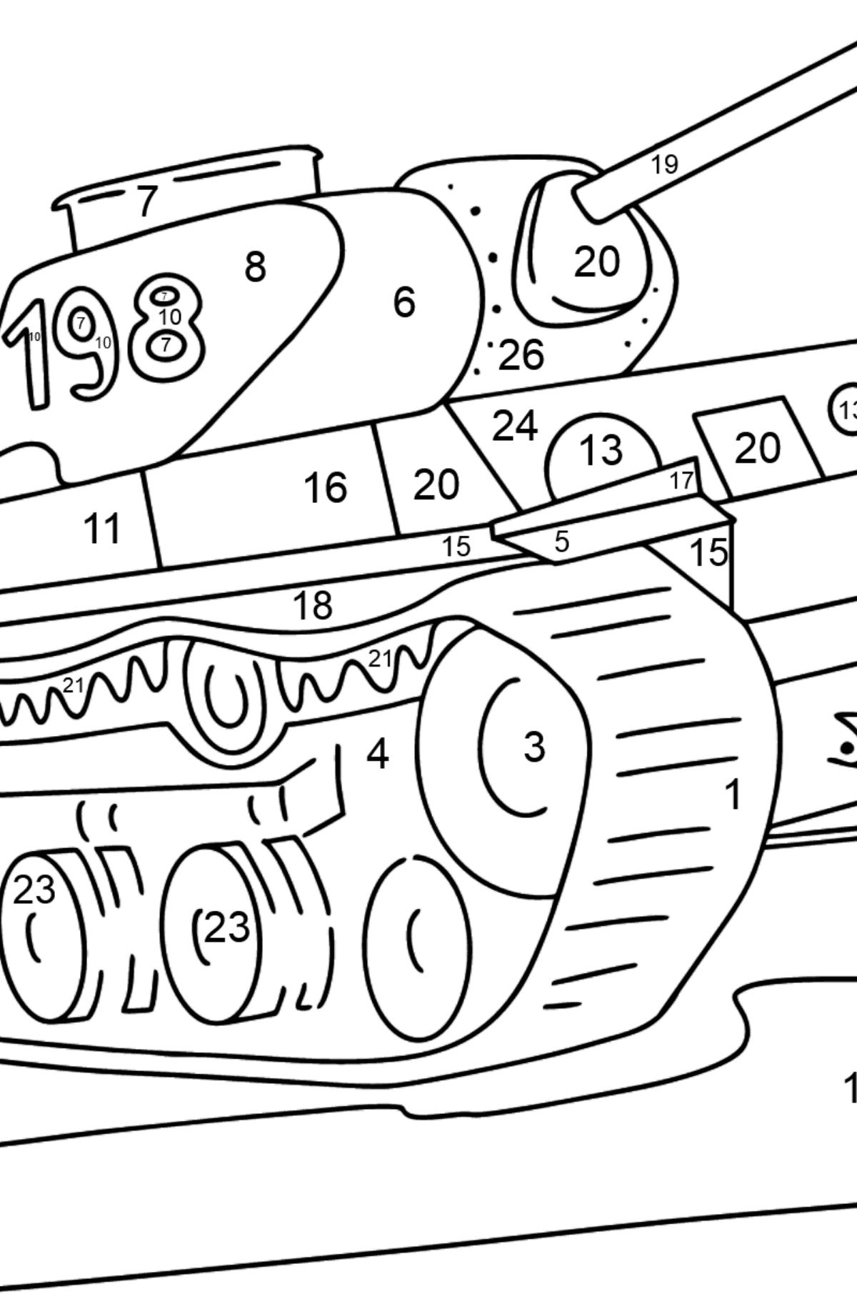 Panzer KV 1 Ausmalbild - Malen nach Zahlen für Kinder
