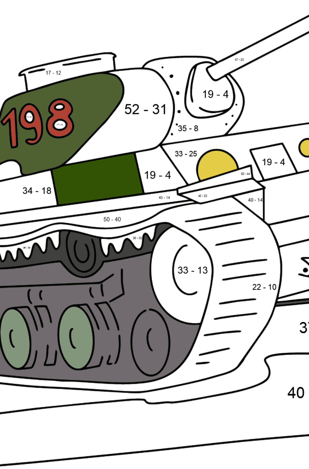 Tank KV 1 coloring page - Math Coloring - Subtraction for Kids