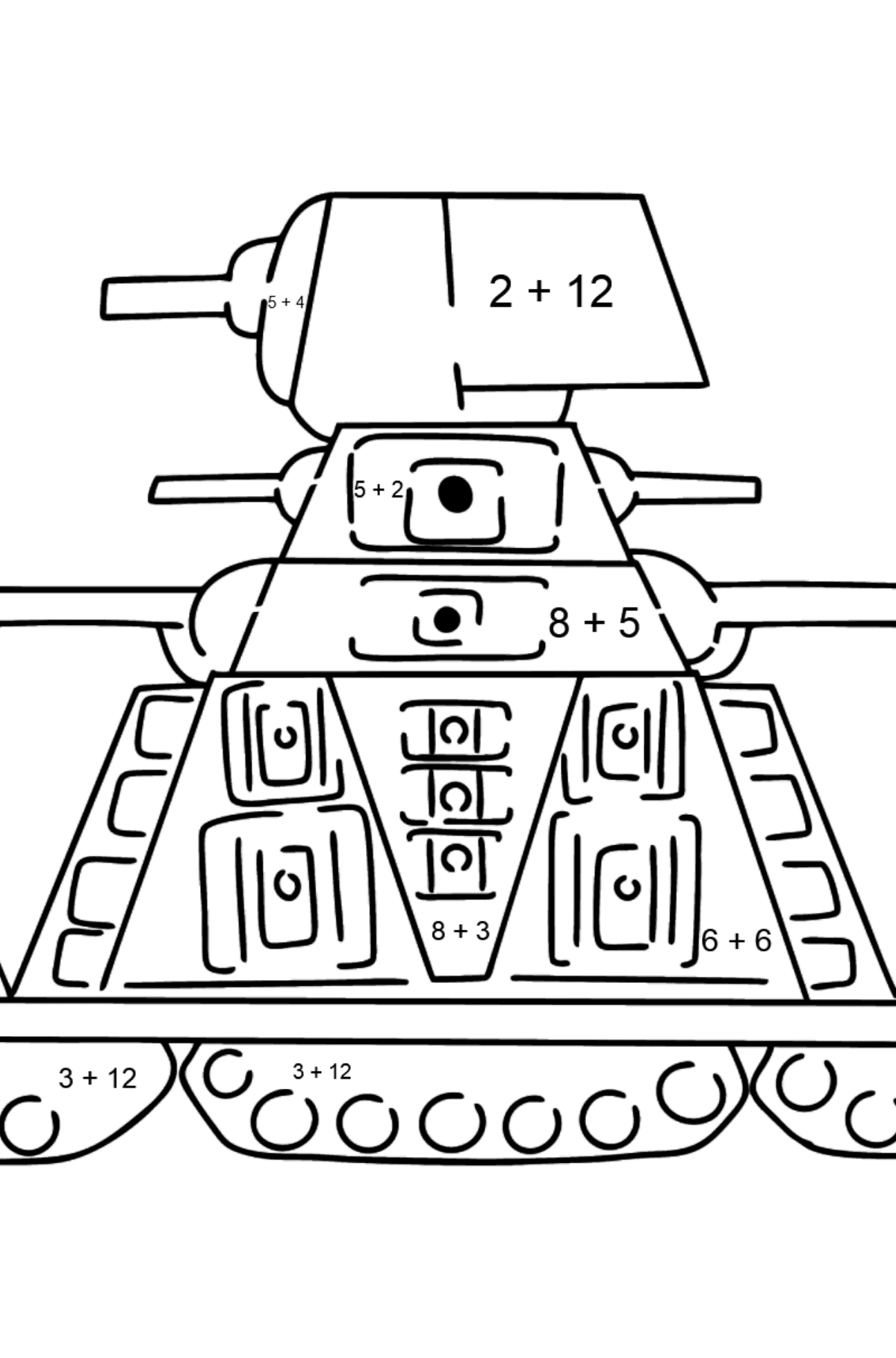 Tank KV 44 coloring page - Math Coloring - Addition for Kids