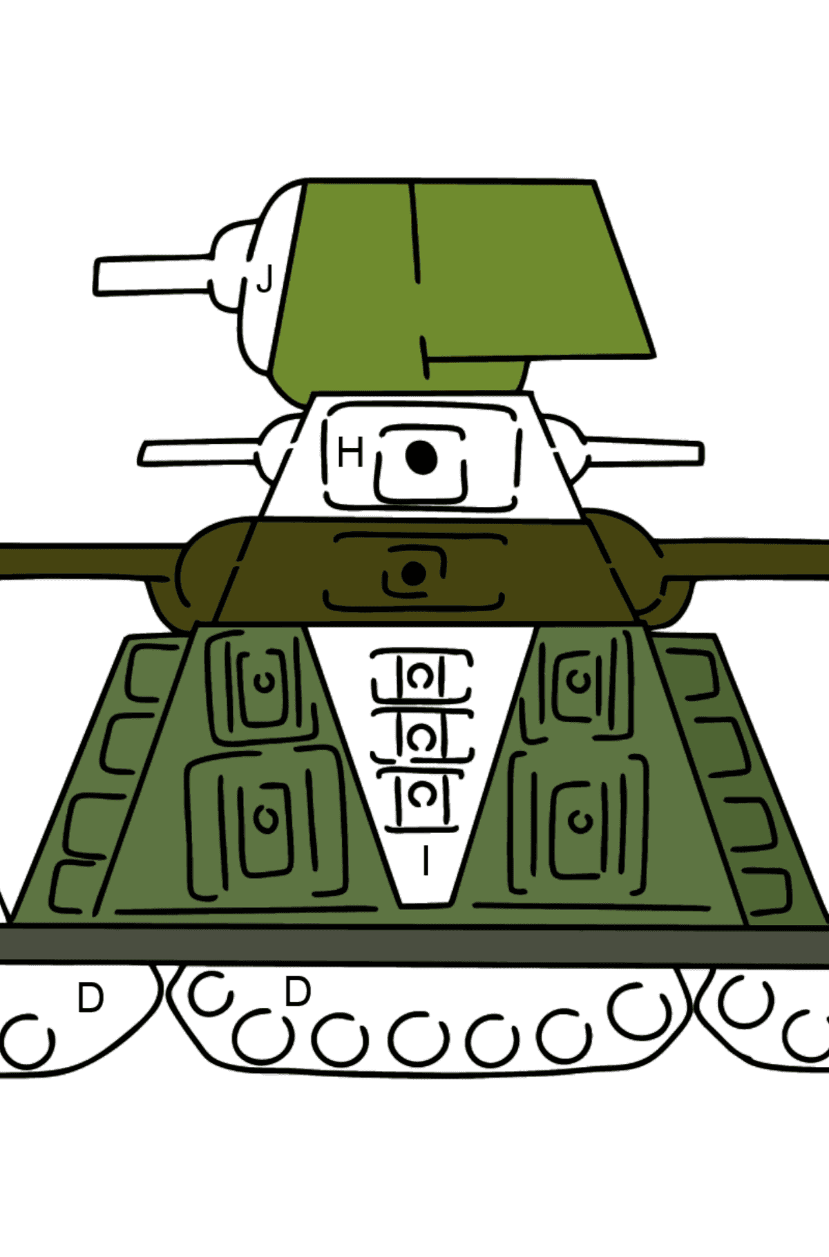 Tank KV 44 coloring page - Coloring by Letters for Kids