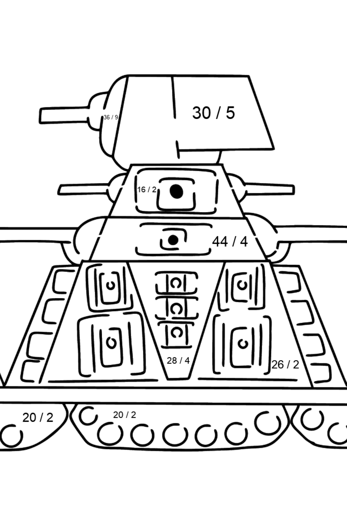Tank KV 44 coloring page - Math Coloring - Division for Kids
