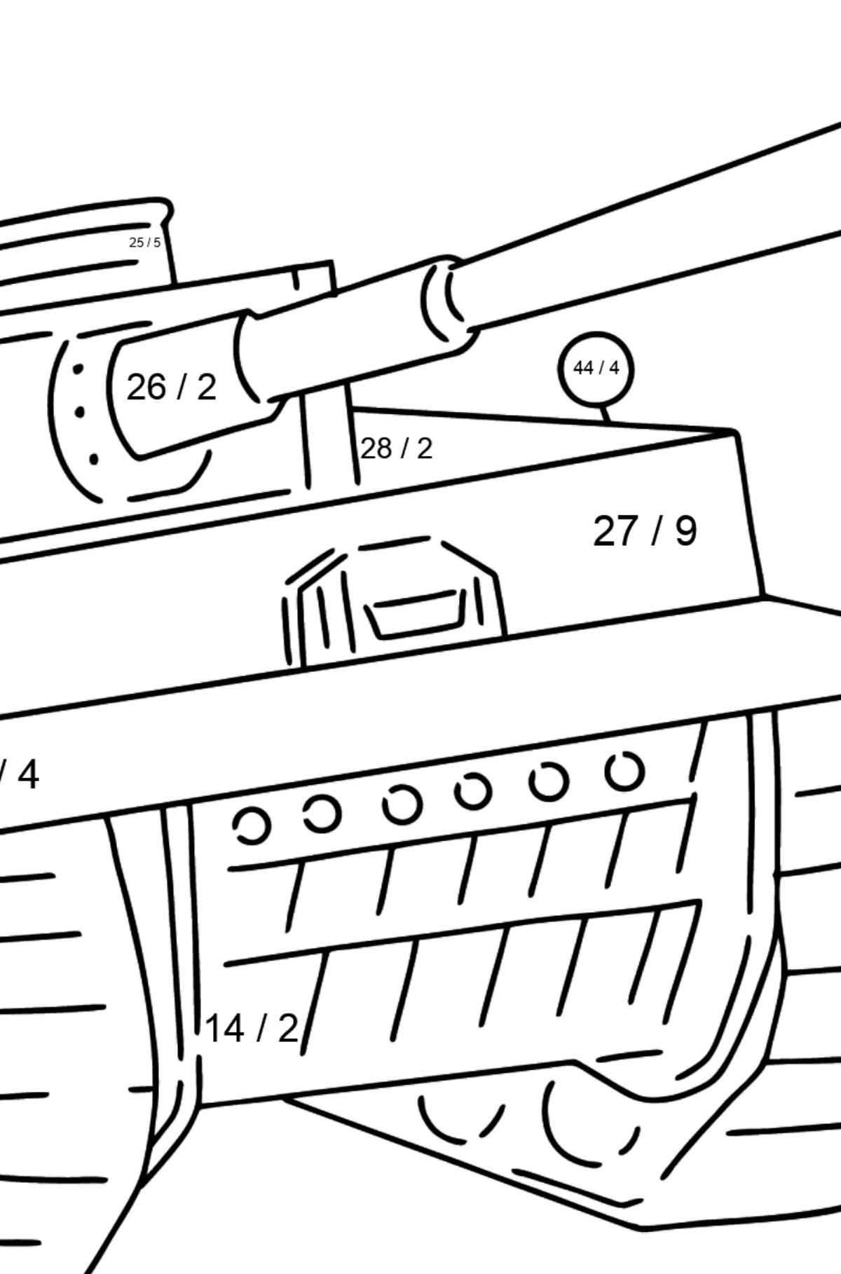 Tank Panther coloring page - Math Coloring - Division for Kids