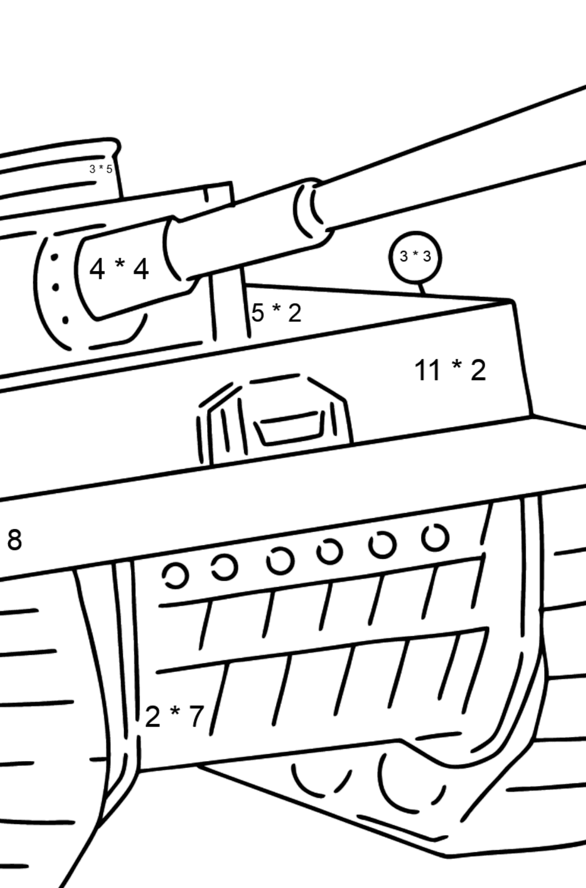 Tank Panther coloring page - Math Coloring - Multiplication for Kids