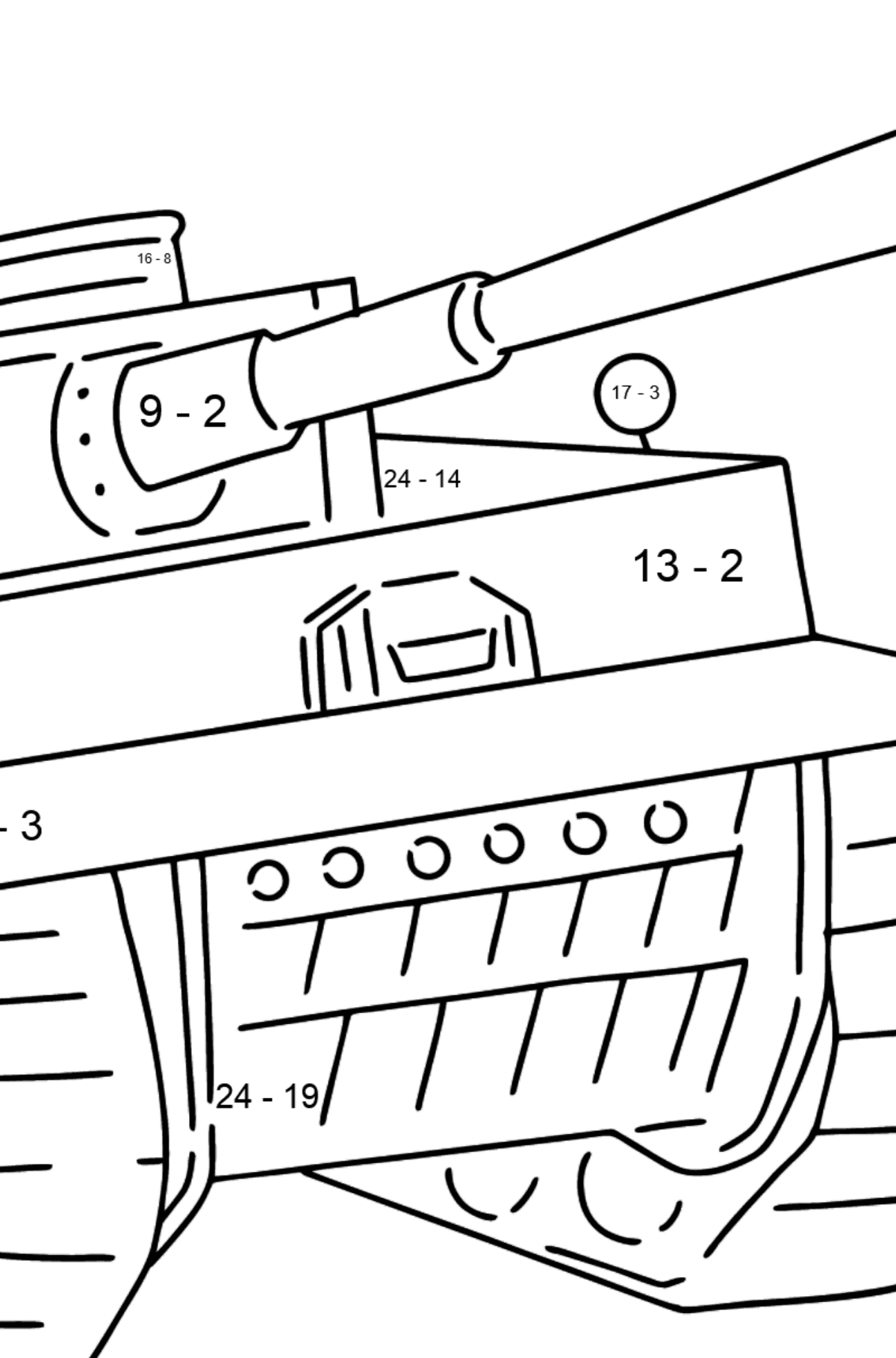Tank Panther coloring page - Math Coloring - Subtraction for Kids