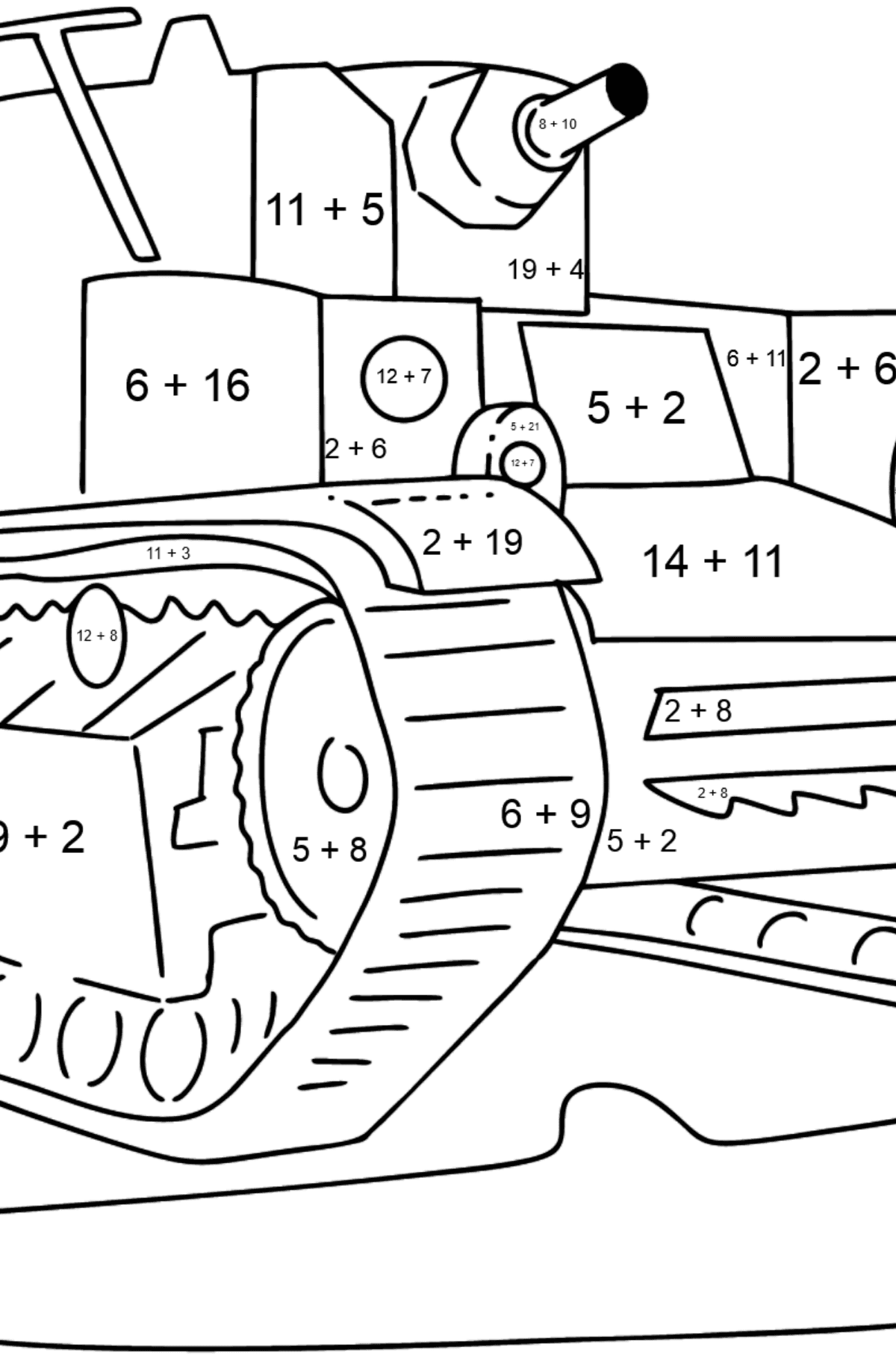 Tank T 28 coloring page - Math Coloring - Addition for Kids