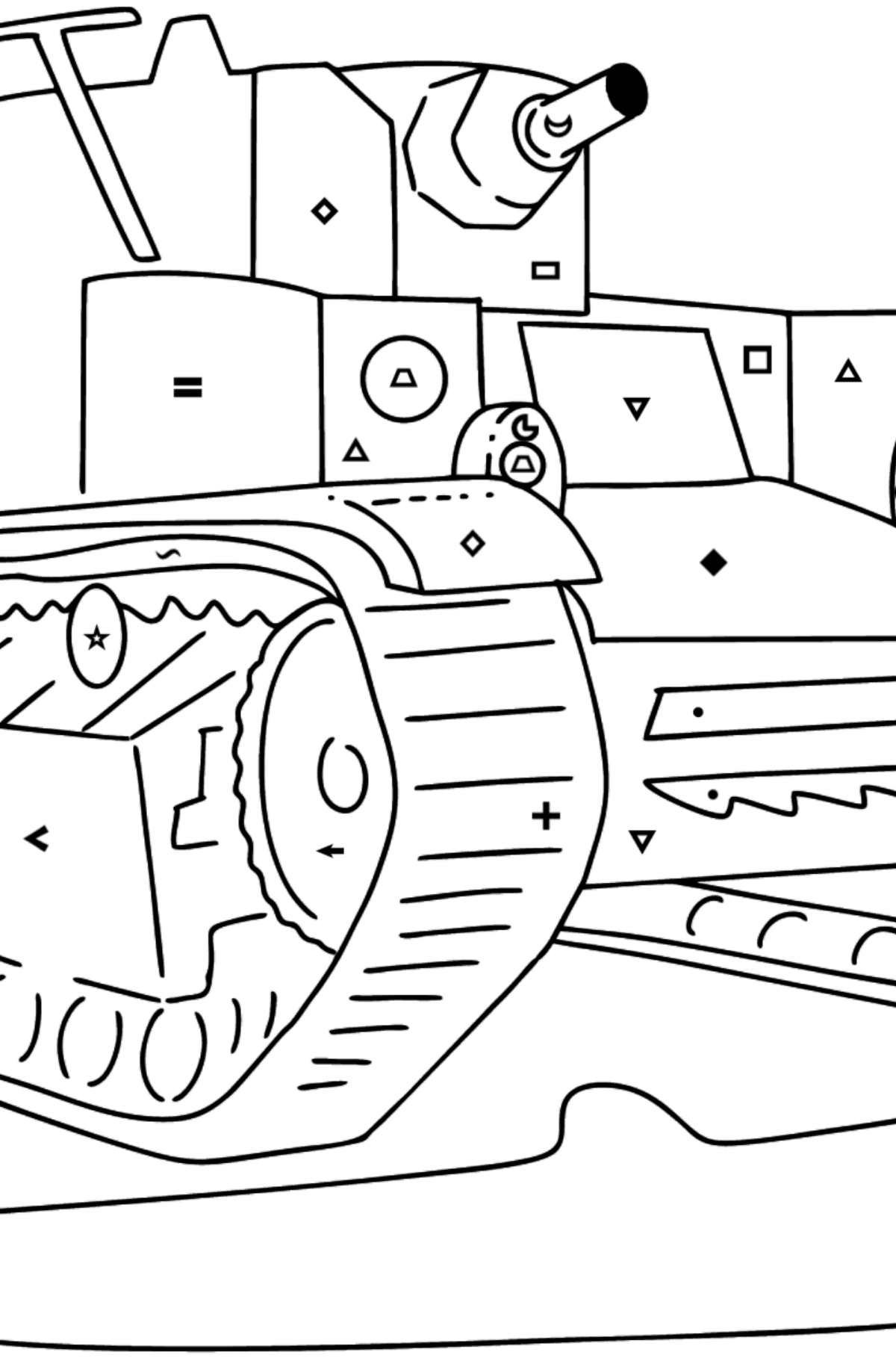 Tank T 28 coloring page - Coloring by Symbols and Geometric Shapes for Kids