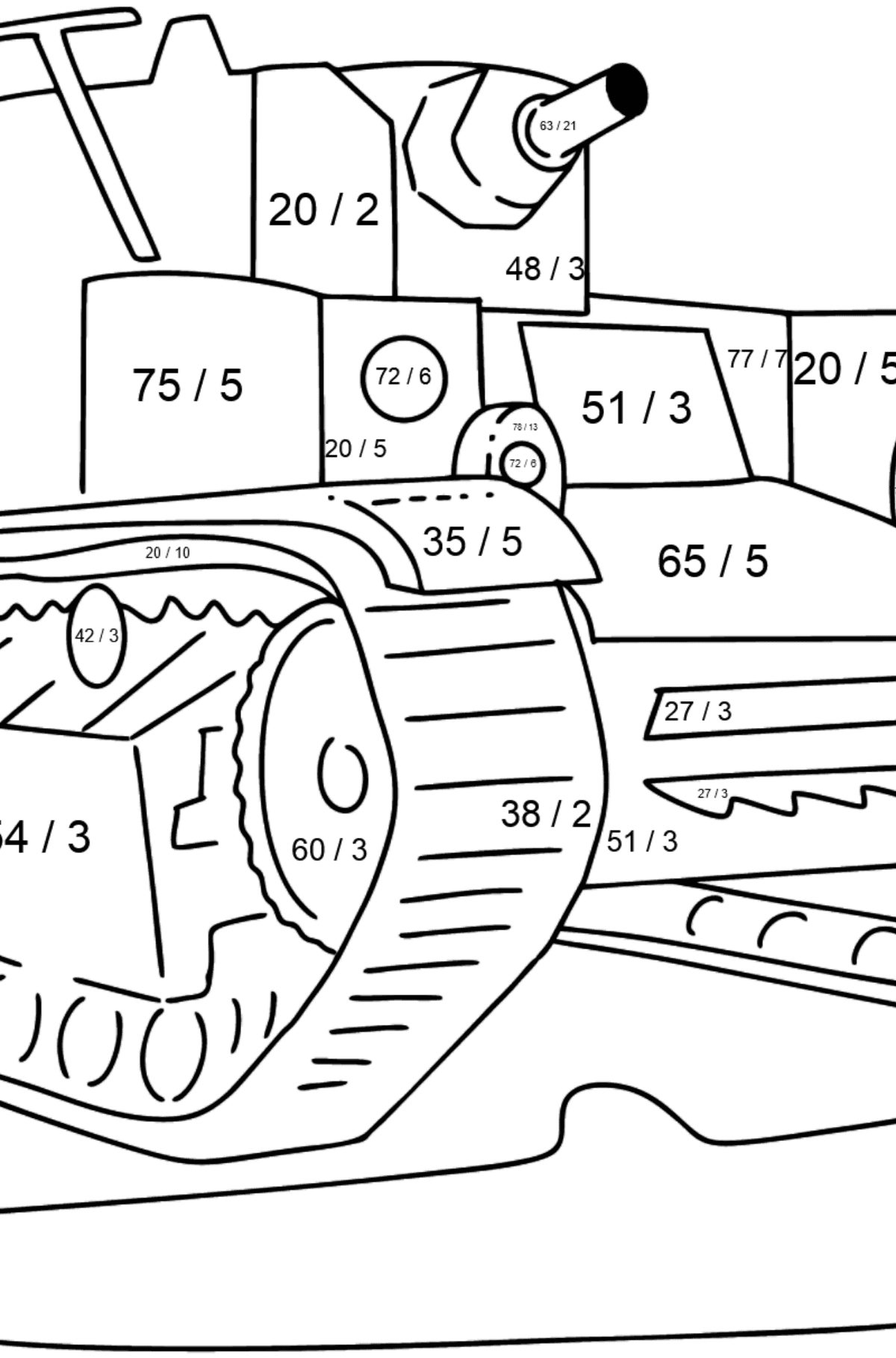 Tank T 28 coloring page - Math Coloring - Division for Kids
