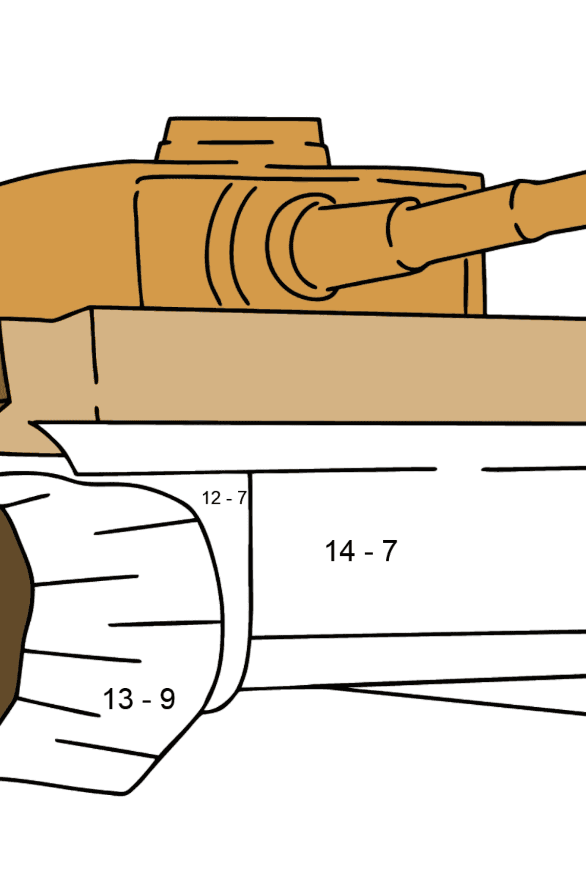 Tank Tiger coloring page - Math Coloring - Subtraction for Kids