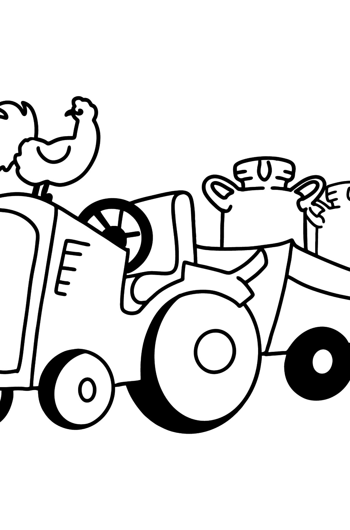 Раскраска трактор на ферме - Раскраски для Детей
