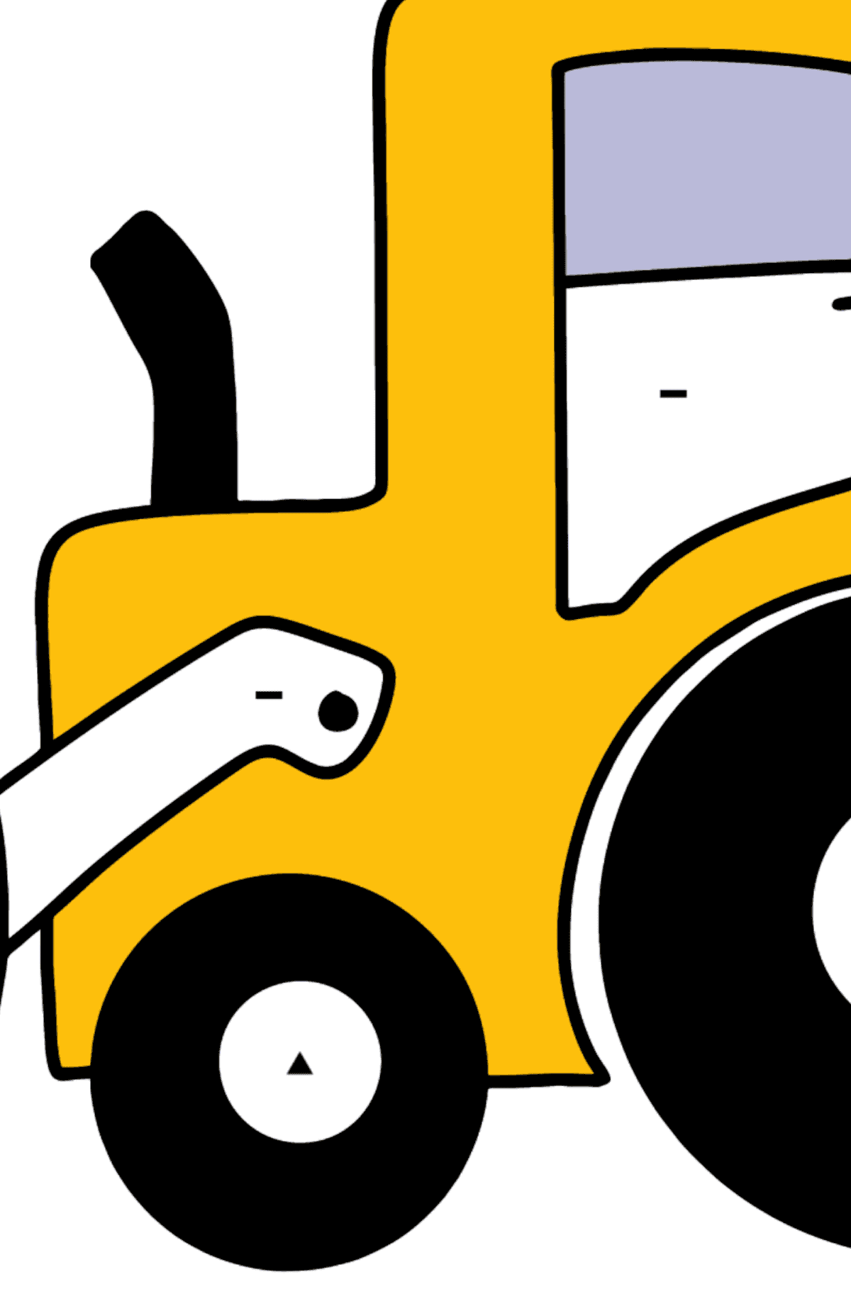 Раскраска простой трактор - Раскраска по Символам для Детей