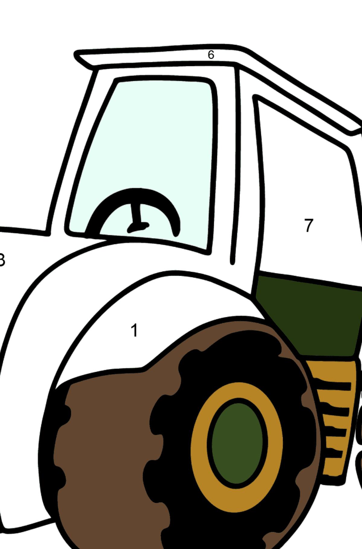 Раскраска трактор - Раскраска по Номерам для Детей