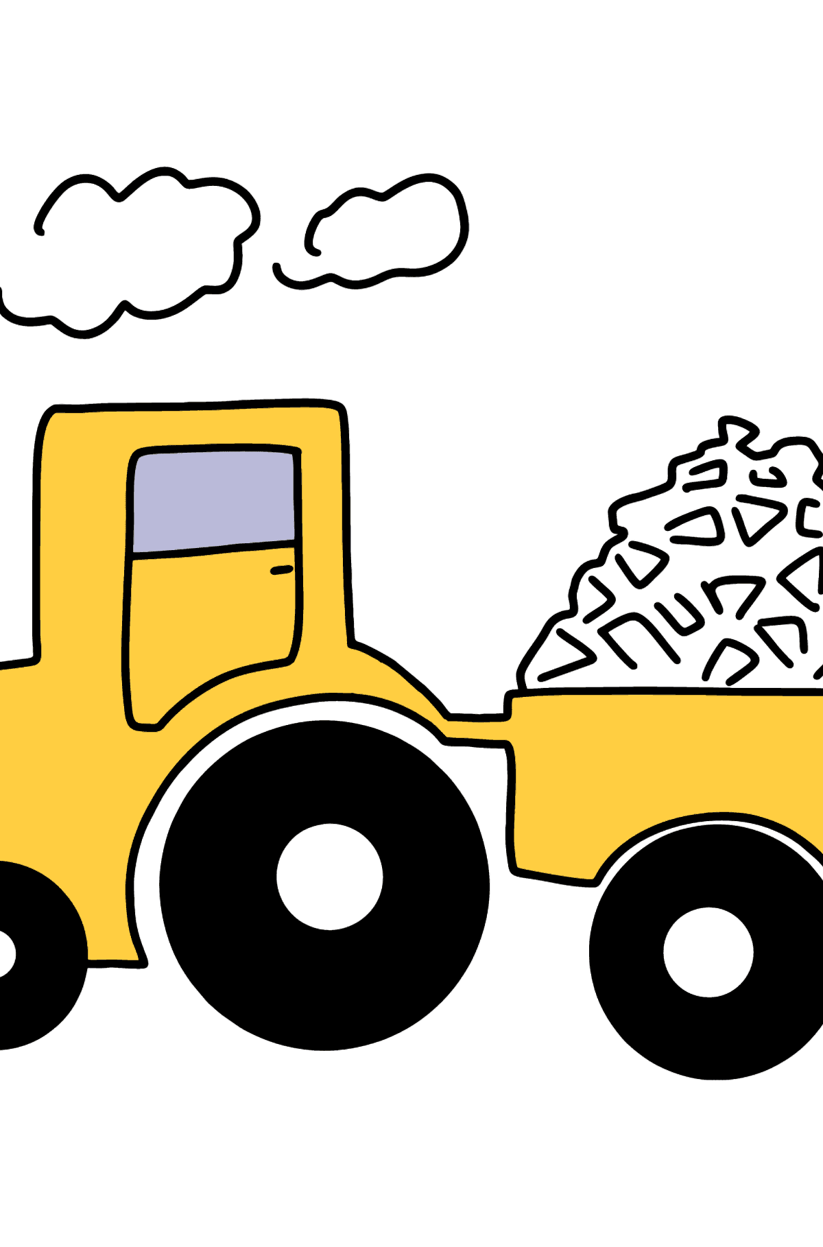 Tractor with Firewood coloring page - Coloring Pages for Kids