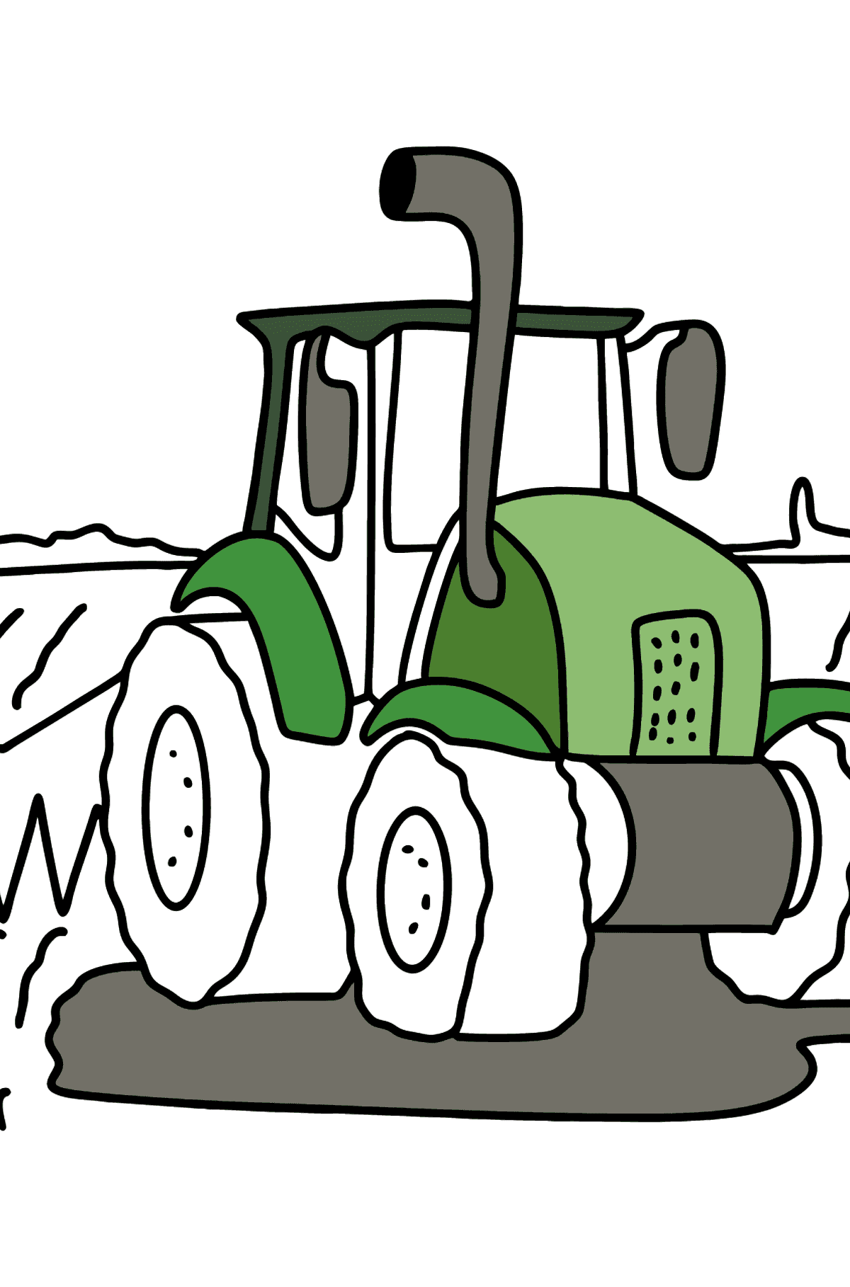 Tractor in the Field coloring page - Coloring Pages for Kids