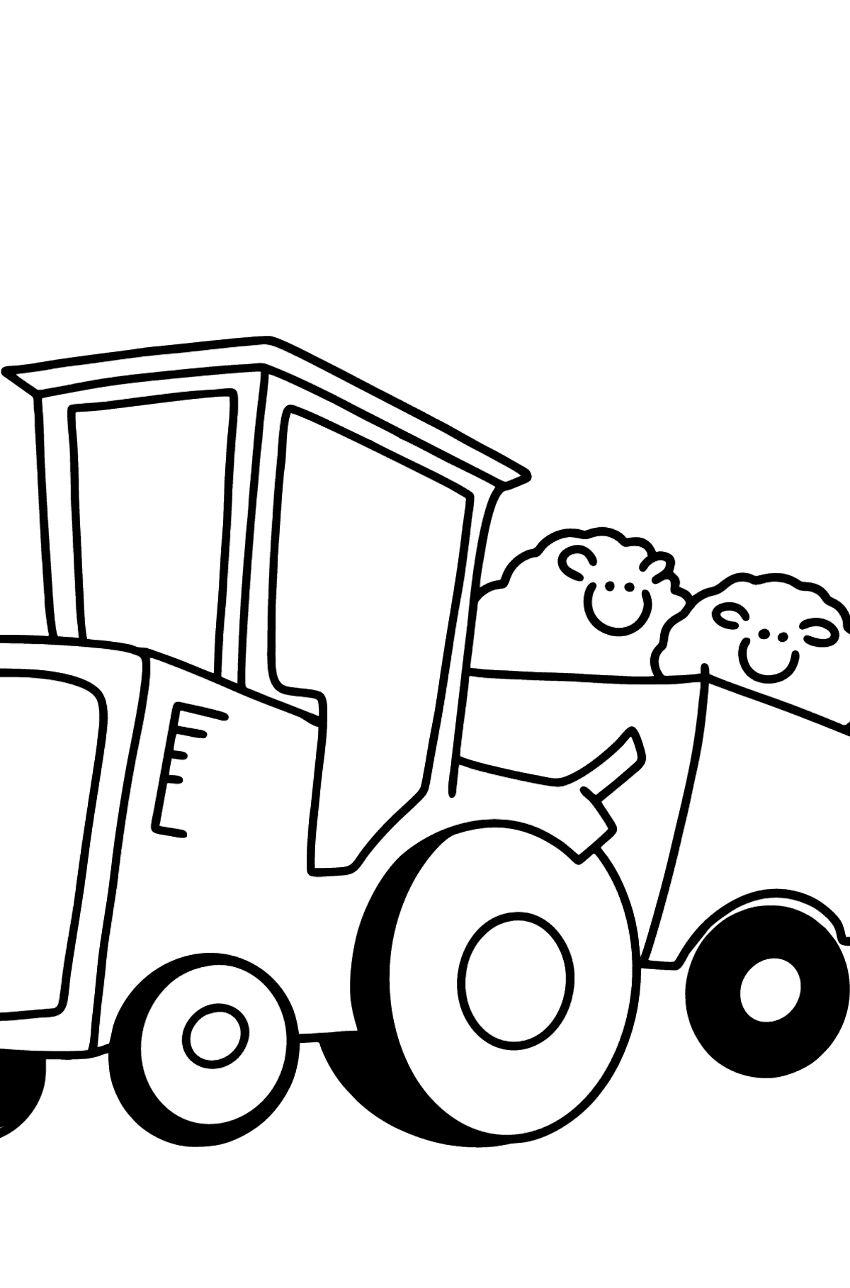 Tractor with Sheep Trailer coloring page - Coloring Pages for Kids