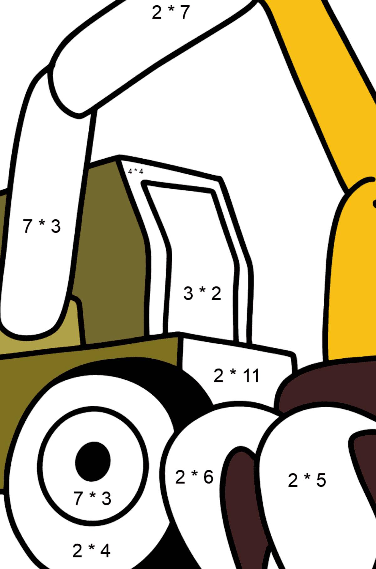 Раскраска строительный трактор - Математическая Раскраска - Умножение для Детей