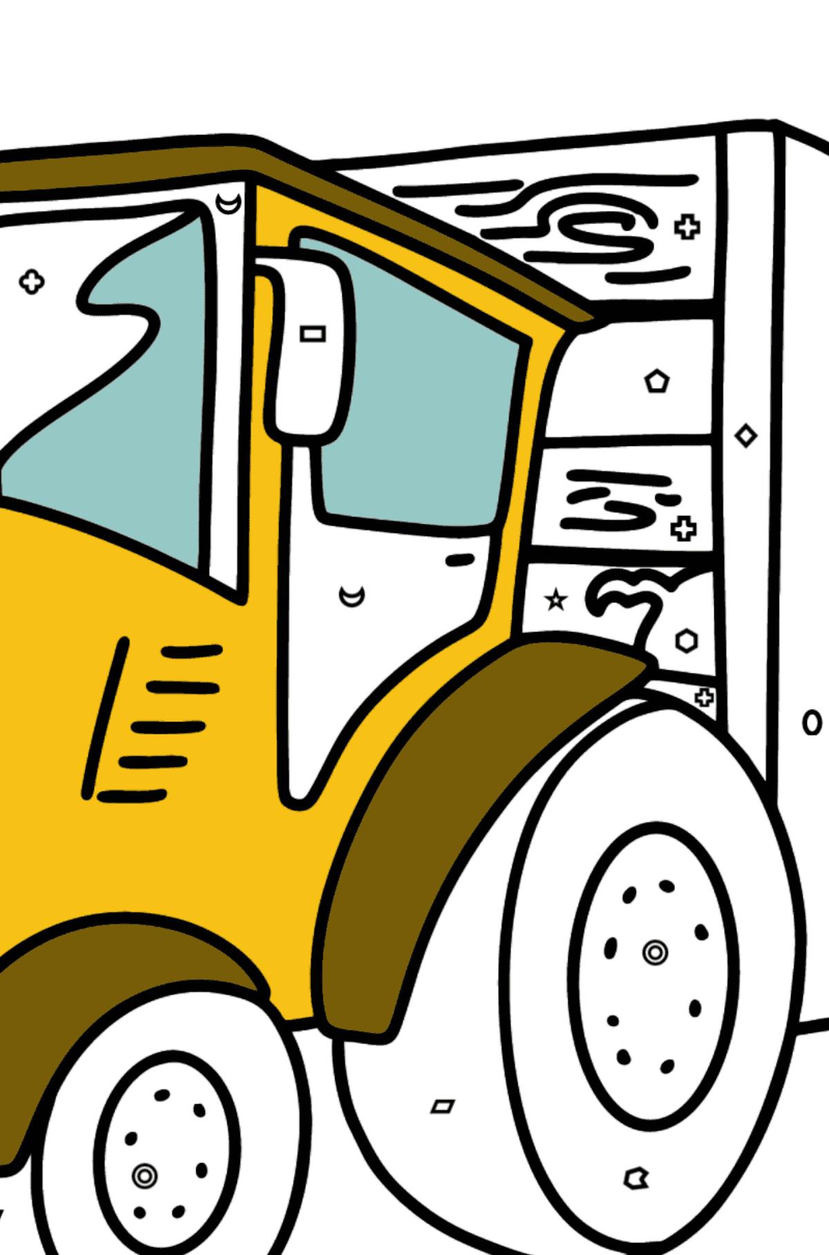 Раскраска трактор с прицепом для свиней - Раскраска по Геометрическим Фигурам для Детей