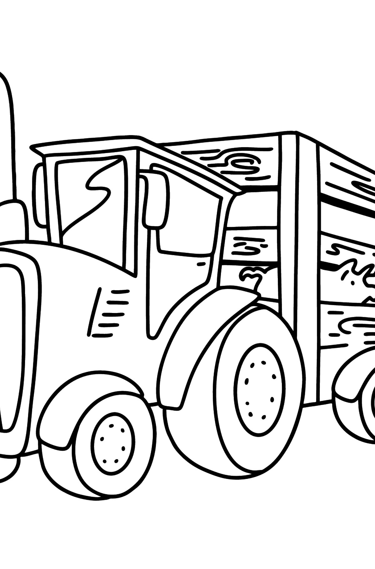 Раскраска трактор с прицепом для свиней - Картинки для Детей