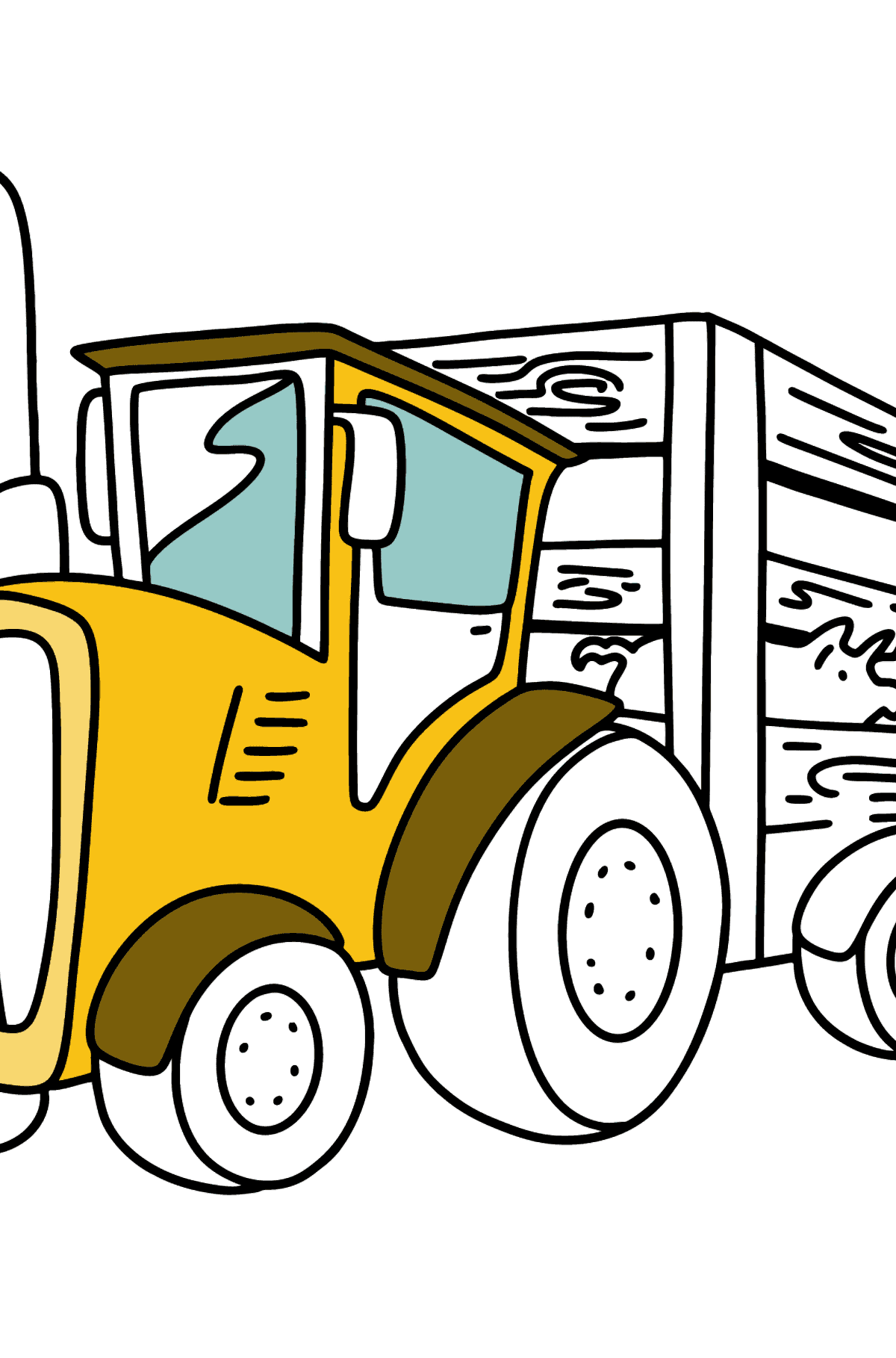 Tractor with Pig Trailer coloring page - Coloring Pages for Kids