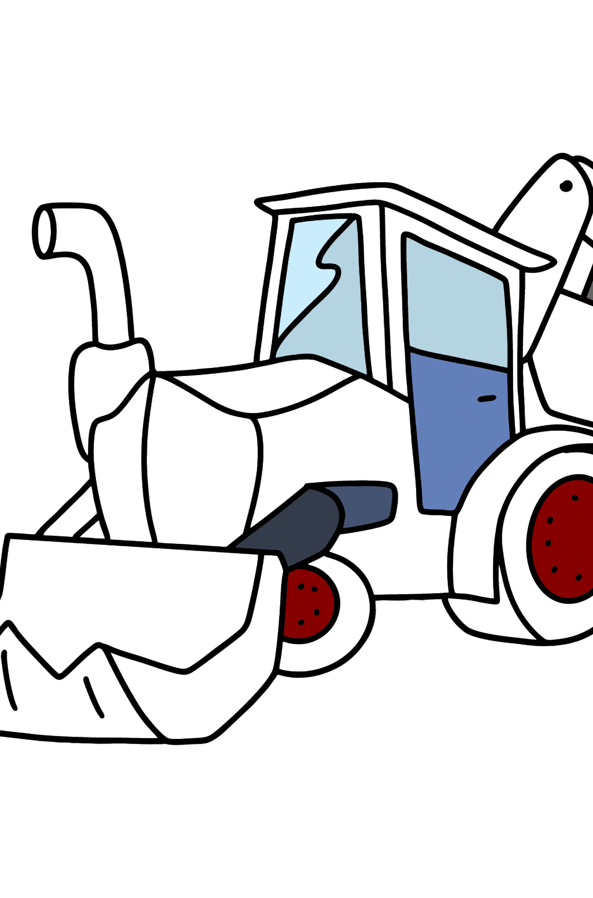 Tractor with Two Buckets coloring page - Coloring Pages for Kids