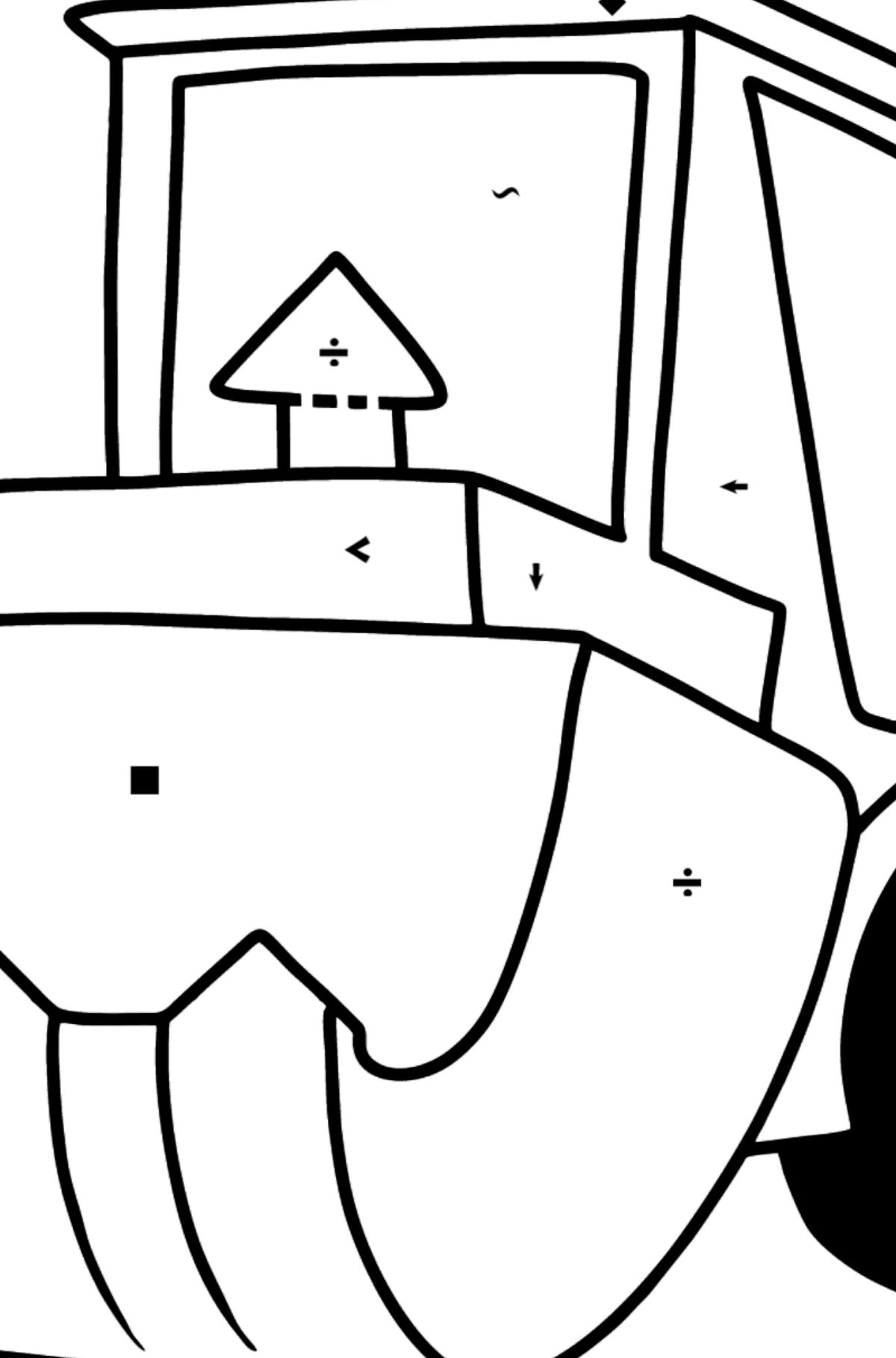 Tractor with Bag coloring page - Coloring by Symbols for Kids