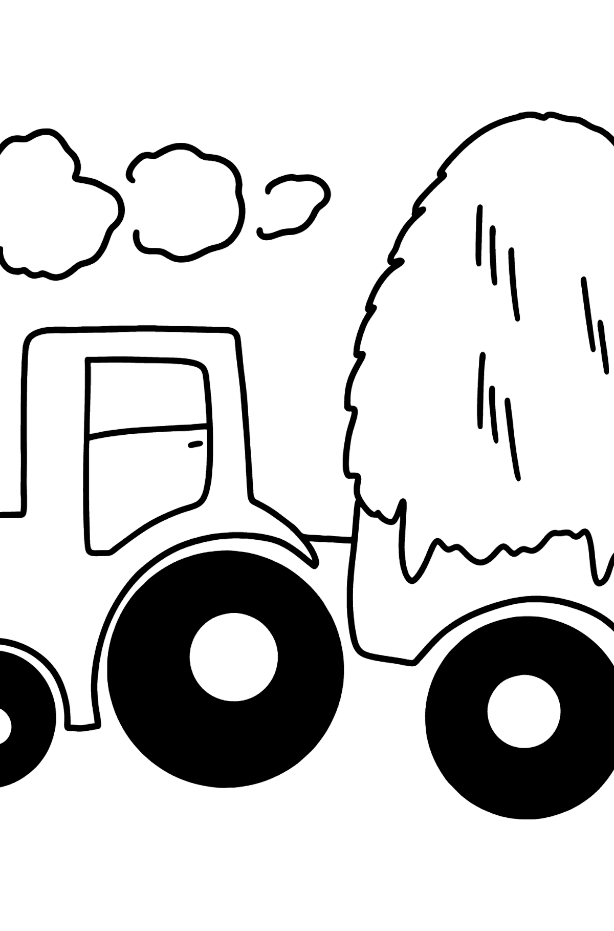 Tractor with Hay coloring page - Coloring Pages for Kids