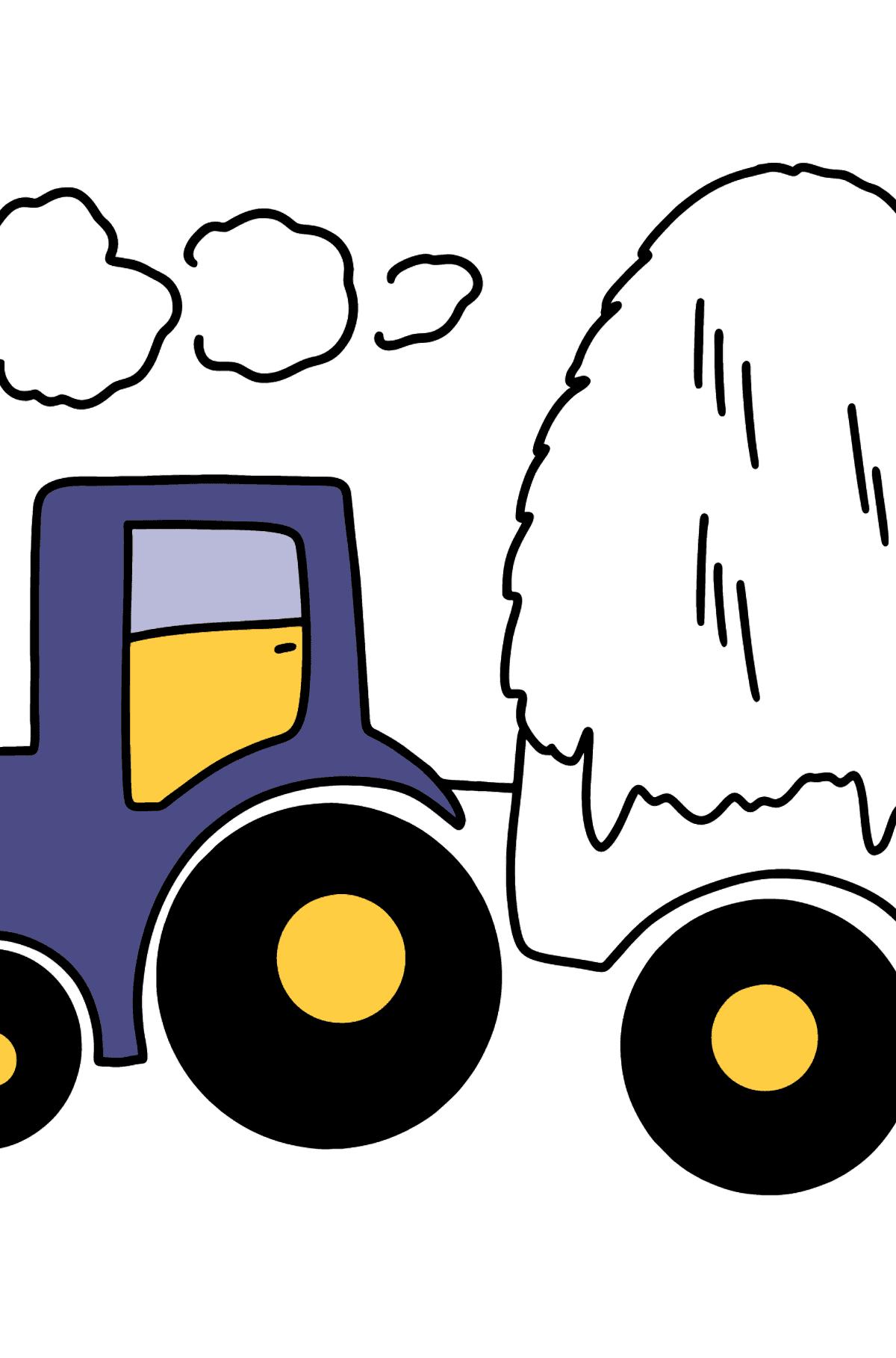 Раскраска трактор с сеном - Раскраски для Детей