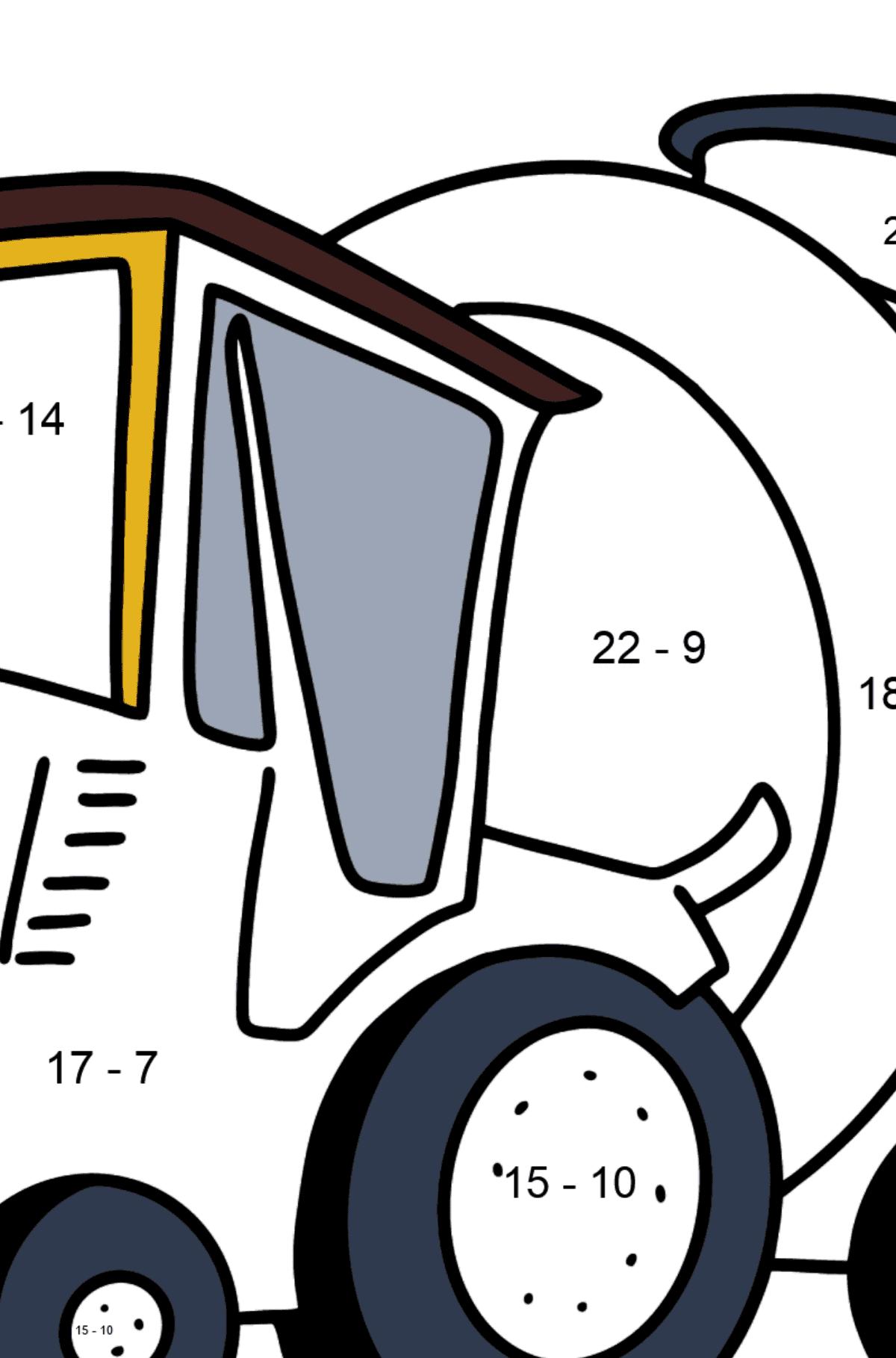 Раскраска трактор с прицепом для воды - Математическая Раскраска - Вычитание для Детей